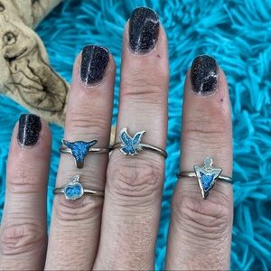 4 pc turquoise Native American themed rings 5/6.5